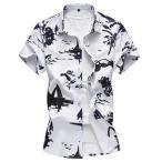 アロハシャツ 半袖 メンズ ハワイシャツ 墨絵 アメカジ リゾート 個性 ビッグシルエット 7XLまで 夏