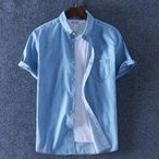 ボタンダウンシャツ メンズ 半袖 無地 デニム ポケット付き 薄目 大きいサイズ 春 夏 カジュアルシャツ