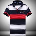 ショッピングボーダー ポロシャツ 半袖 メンズ ボーダー 英字 刺繍 カジュアル 通気性 ゴルフウェア ポロ 涼しい 夏