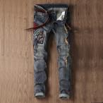 ストレートジーンズ メンズ ボトムス スリム 刺繍 欧米風 アメカジ 個性 ユーズド ウォッシュ加工