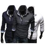 新作 ポロシャツ メンズ 長袖 チェック柄 無地 切替 ビジネス対応 カジュアル シンプル アメカジ
