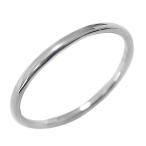 シンプル ストレートリング ホワイトゴールドK18 ピンキーリング 丸線 地金 ホワイトデー プレゼント