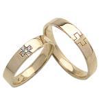 ショッピングペアリング 結婚指輪 クロス ダイヤモンド ペアリング イエローゴールドK10 マリッジリング クリスマス プレゼント カップル