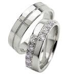 指輪 ペア 結婚指輪 クロス プラチナ ダイヤモンド 幅広 5ミリ幅 マリッジリング Pt900 十字架 ペアリング 2本セット
