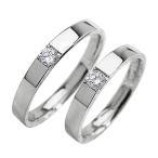 一粒ダイヤ 結婚指輪 ダイヤモンド ホワイトゴールドK18 ペアリング 18金 マリッジリング  カップル ホワイトデー プレゼント