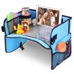 チャイルドトレイ チャイルドシートおもちゃ Travel tray お絵かきテーブル ベビー テーブル 車載 食事 お遊び台 両側に収納ポケット付き おもちゃ入れ袋 シート