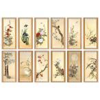 掛軸セット 複製掛軸 酒井抱一 「十二か月花鳥図」 掛軸12点セット - アートの友社