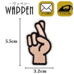 ワッペン 刺繍ワッペン 縦5.5cm×横3.2cm 指 手 アイロンワッペン ミニワッペン ハンドメイド アップリケ メール便