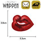 ワッペン スパンコール 縦3.8cm×横5.3cm 唇 リップ アイロン貼付け可能 バッグやiPhoneケースをオリジナルに ハンドメイド 手芸 手作り メール便