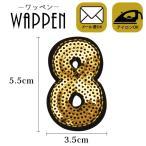 ワッペン スパンコール アイロン接着可能 縦5.5cm×横3.5cm 数字8 手芸 バッグやiPhoneケースをオリジナルに ハンドメイド メール便
