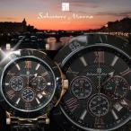 腕時計 メンズ 人気 クロノグラフ Salvatore Marra サルバトーレマーラ SM7019-PGBK ベルト調整工具付き
