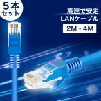 LANケーブル ランケーブル 3m 5m LAN ケーブル CAT5e 金メッキピン 高速 安定 ツメ折れ防止カバー付き PVC素材 ブルー 5本 / セット