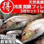 真鯛 フィレ 1kg 冷凍 気仙沼産 天然 (三陸 まだい マダイ 切身)
