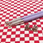 ループタイ製作用紐・金具セット×3セット カジュアルタイプ 剣先銀色 金具銀色リボン型 メッキ済み 少し訳あり
