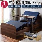 電動ベッド マット付き サイドガード2個付き シングルベッド 電動リクライニングベッド 手すり付き 木目調 木目柄 ブラウン ネイビー ダークブルー メッシュ