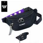 ウエストポーチ キッズ 女子 ボディバッグ 斜めがけ 韓国 バッグ 流行り  黒 紫 RHAPSUP リングハトメ ウエストバッグ dgr-632