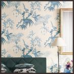 壁紙 のり付き のりつき クロス 国産壁紙 イラスト 鳥 植物 エレガンス 水色 壁紙サンゲツ RE-2780