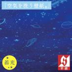 壁紙 のり付き のりつき クロス 国産壁紙 デザイン パターン 蓄光 ブラックライト 光る 宇宙 空 雲 星 列車 銀河 鉄道 ルノン RH-9431