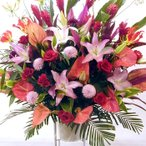 ショッピングスタンド スタンド花 開店祝い・開業祝い ピンク・レッド系(人気No1)人気の色合い