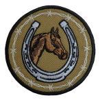 メール便可 馬 蹄鉄 馬蹄 ホースシュー 乗馬 刺繍 ワッペン アイロン パッチ アップリケ PA062