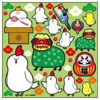 デコレーションシール 干支 酉 鏡餅 緑 69992