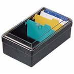 ds-2233478 (まとめ) ライオン事務器 名刺整理箱W102×D180×H70mm 500枚収容 黒 No.51 1個  【×10セット】 (ds2233478)