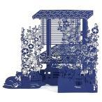 S4254 初夏〜暑中見舞い レーザーカット 朝顔の縁側 切り絵調藍色S4049[Sanrio]サンリオ立体カード 夏カード