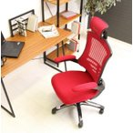 オフィスチェア キャスター付き椅子 学習椅子 パソコンチェア 肘置き レッド 赤 ( 椅子 チェア イス いす ハイバック ダイニングチェア )