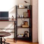 本棚書棚オープンラックブラウン(収納棚木製扉付きシェルフ棚衣類収納モダンアジアンボードコンソール)