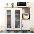 食器棚  キッチン 食器収納 キッチンラック レンジ台 レンジ棚 ロー ミニ食器棚 約 幅90 白 スライド 炊飯器 奥行40 コンセント