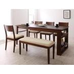 ダイニングテーブルセット ダイニングセット 6人用 収納 ( 机+椅子×4+ ベンチ Cブラウン ) 伸縮 伸長 収納付き 幅 120 150 180