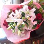 花束 プレゼント ピンクユリ 赤バラ 豪華花束 受賞祝 出演祝 発表会 退職祝い