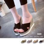 ウェッジソール サンダル レディース 厚底 歩きやすい 脱げない 疲れない 靴