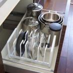 キッチン雑貨 シンク下 フライパン&鍋ふたスタンド タワー 仕切りは取り外し自由 サイズに合わせて オシャレ雑貨 便利 モノトーン ホワイト ブラック