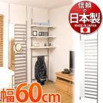 ショッピングつっぱり ラダーラック ハンガーラック 幅60 日本製 突っ張り ミラー付き シルバー 店舗 薄型 壁面ラック ウォールラック