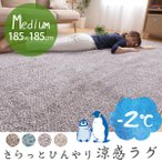 ショッピング日本製 日本製 ラグ 夏 らっとひんやり涼感ラグ 185×185cm(約2帖) 夏用 北欧 冷感 ラグマット マット カーペット 国産
