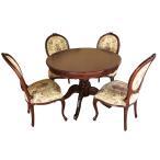 (送料無料)アンティーク調マホガニー家具:ダイニング5点セット丸:100*100:ブラウン(3タイプからお好きなお椅子を)