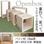 オープンボックス BOX パイン材 厚み19mm 40×40 正方形 無塗装 1個