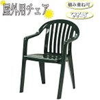 ガーデンチェア 単品 アームチェア スタッキングチェア チェアー イス いす 椅子 積み重ね可能 プラスチック グリーン 緑 NE-0002