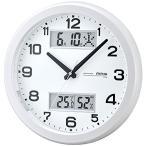 ノア精密 W-630-PW アナログ電波掛時計 ダブルスライト パールホワイト (マグ MAG/アナログ表示/温度表示/湿度表時/カレンダー表示)