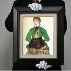 エゴン・シーレ:グリーンのブラウスを着てマフをした女(F4号・333×242)