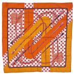 エルメス HERMES ハンカチ Clic Clac クリッククラック ドット 水玉 スカーフ コットン オレンジ レディース 【中古】