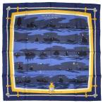 エルメス HERMES カレ 90 FEUX DE ROUTE APER〓US LA NUIT EN MER 夜の海に光る航路灯 スカーフ シルク ネイビー イエロー マルチカラー レディース 【中古】