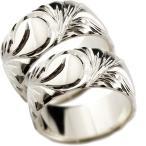 ペアリング メンズ ホワイトゴールドk10 ハワイアンジュエリー 幅広 指輪 ハワイアンリング 地金リング トラスト マイレ スクロール ストレート 手作り