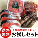 (送料無料) 売れ筋 お試しセット しゃこ 蝦蛄 オス 明太子 ボタンエビ 紅鮭 鮭 クール便