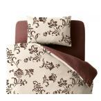 ショッピングカバー 布団カバーセット ベッド用3点(枕カバー + 掛け布団カバー + ボックスシーツ) セミダブル 色-リーフ柄ブラウン