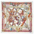 HERMES エルメス スカーフ ソルド カレ ツイル シルク100% 90CMS LE SONGE DE LA LICORNE ホワイト/パープル/イエロー 27413 わけありセール