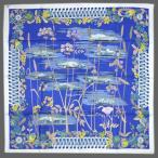 HERMES エルメス スカーフ ソルド カレ ツイル シルク100% 90CMS 'LES BOLIDES' ホワイト / ブルー 27419 わけありセール