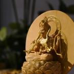 ★木彫り仏像-【小仏】シリーズ 守護神【愛染明王】 柘植金泥付 総高11.6cm