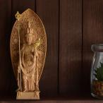 木彫り仏像-小仏 長谷寺形【十一面観音菩薩】 柘植 金泥仕様 模造作品 ※桐箱入れ